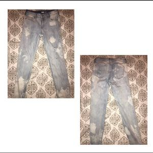 light acid washed ripped jeans